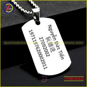 Thẻ bài lính dogtag khắc tên theo yêu cầu 1 mặt