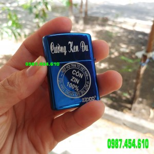 Zippo xanh sapphire khắc logo chứng nhận zin 100%