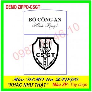 Mẫu Zippo khắc logo Cảnh sát Giao thông