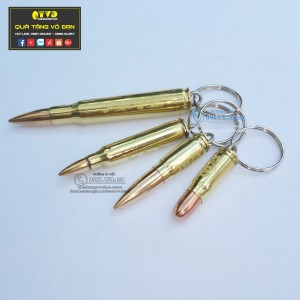 Combo 4 móc khóa vỏ đạn đại liên, ar15, K54 nhọn, K54 tròn
