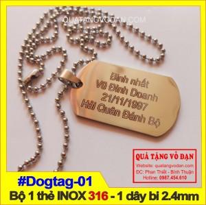 Thẻ bài Dogtag -  Bộ 1 thẻ 1 dây khắc tên