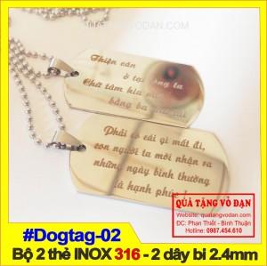 Thẻ bài Dogtag -  Bộ 2 thẻ 2 dây khắc tên